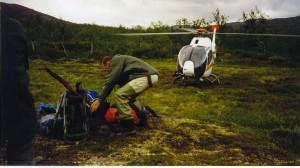 Ankomst med helikopter till Aleb Luoitaure